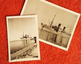 Pair of Vintage Small Size Black and White Photo Early- Mid Century Ship- Two little pictures