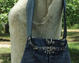upcycled jean purse, denim purse, blue jean purse, shoulder bag, small purse, purse made from Grace in LA jeans