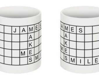 Crossword Puzzle mug, Personalised puzzle gift, Christmas Crossword Puzzle lovers gift, Crossword mug, Birthday gifts, Gift for grandparent