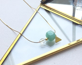 Amazonite and Moonstone Cube Necklace - boho necklace - Gemstone necklace