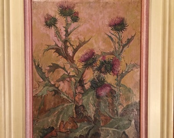 Jadwiga Mijal Oil Painting on Board - 1958 - Signed - National Museum in Warsaw - Polish Artist - Thistle