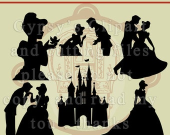 Disney Princess, Cinderella, Prince Charming,Vinyl, Girls Room, Invitation, Silhouette, Clipart, Vector, Cutting file, SVG, Clip Art,Overlay