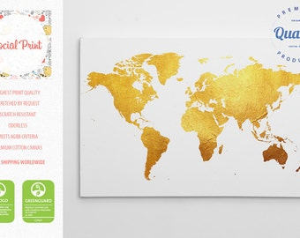 Gold World Map Canvas Print / FREE SHIPPING / home decor, world map, custom world map, pattern world map, canvas art, map print