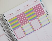 Full Box Planner Stickers in Pink Polka Dot and Rainbow for Erin Condren, Cute, Girly