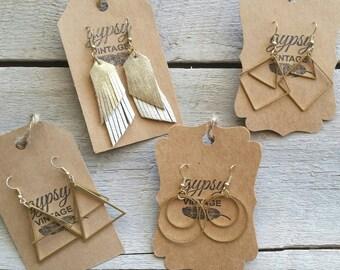 Boho earrings, gypsy earrings, leather earring, brass earring, gold, dangle, drop earring