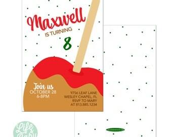 Caramel Apple Party Invitation |  Apple Invitation | Candy Apple Invitation | Fall Party Invitation  - 5x7 with reverse side
