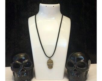 Steampunk skull necklace, skull pendant