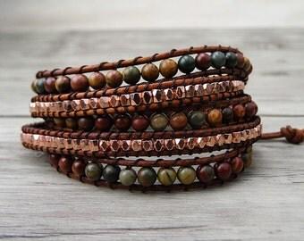 Leather wrap bracelet Picasso Jasper bead wrap bracelet Gemstone bracelet  Red boho beaded bracelet yoga wrap bracelet Gypsy Jewelry SL-0171