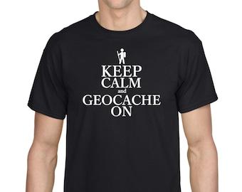 Keep Calm and Geocache On Geocaching GPS Cache tshirt
