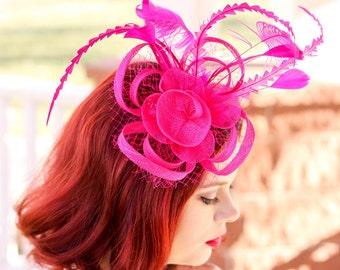 Hot Pink Fascinator, Womens Tea Party Hat, Church Hat, Derby Hat, Fancy Hat, Bachelorette Hat, Tea Party Hat, wedding hat
