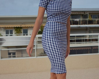 Blue And White Checkered Skirt And Top Suit