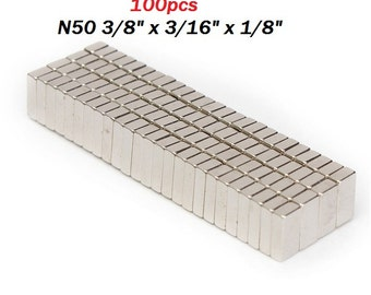 "100pcs N50 3/8"" x 3/16"" x 1/8"" (10mmx5mmx3mm)  Super Strong Block Cuboid Magnets Rare Earth Neodymium Magnets US SELLER"