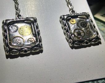 Unique steampunk clockwork earrings