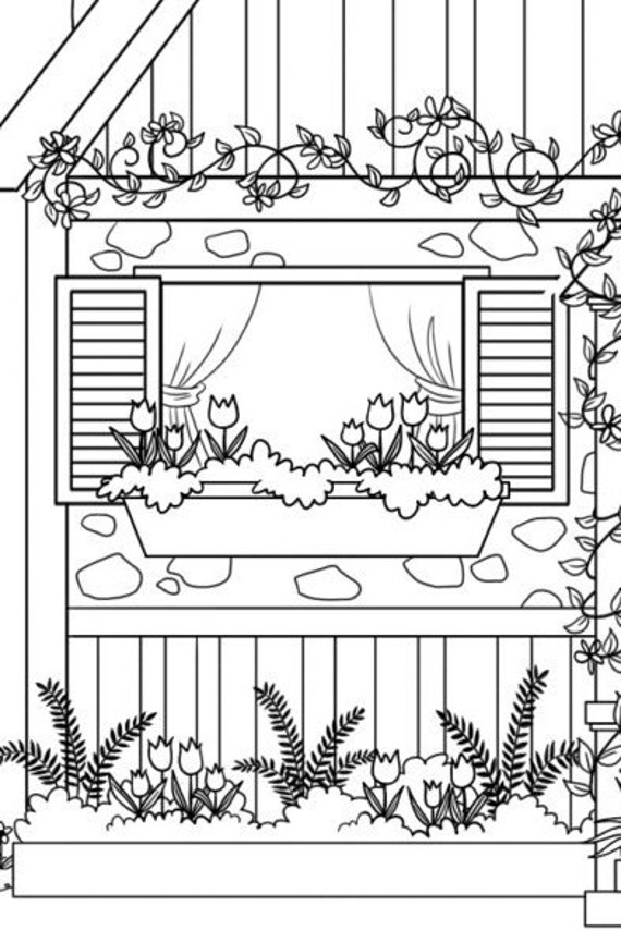 Country Cottage Coloring Page for