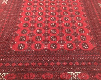 "6'8"" x 9'6"" New Afghan Turkeman Oriental Rug - Hand Made - 100% Wool"