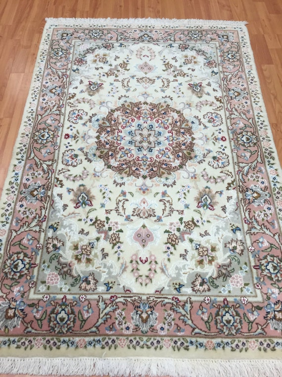 "3'1"" x 4'5"" Persian Kashmar Oriental Rug - Very Fine - Hand Made - Wool and Silk"
