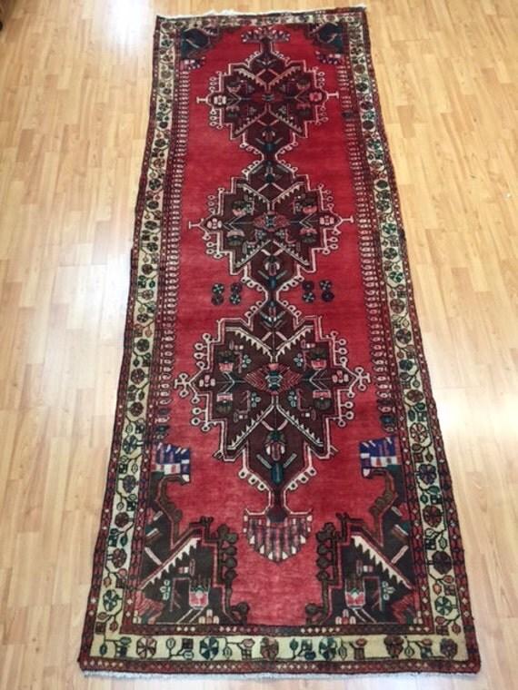 "3'6"" x 9'8"" Persian Hamadan Floor Runner Oriental Rug - 1970s - Hand made - 100% Wool - Vintage"