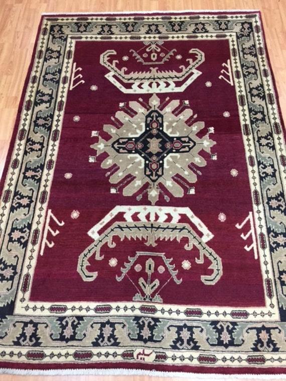 """5'2"""" x 7'4"""" Persian Heriz Oriental Rug - Hand Made - Vegetable Dye - 100% Wool"""