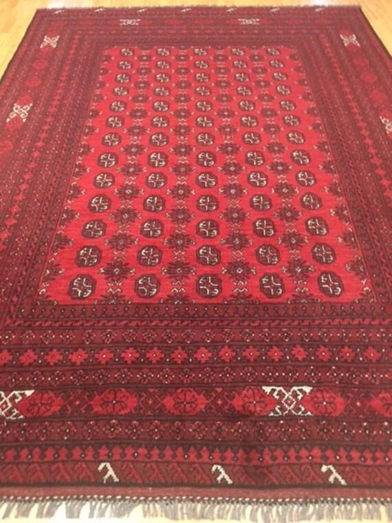 """6'8"""" x 9'6"""" Afghan Turkeman Oriental Rug - Hand Made - 100% Wool"""