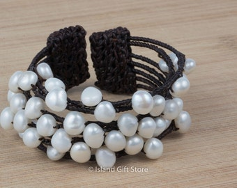 7 strand waxed cotton cord with natural white freshwater pearl bracelet