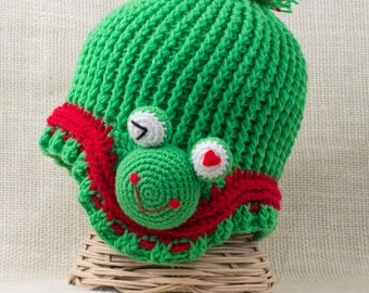 Adorable crochet Hat with ear flaps frog, Hats for Kids, Toddler hat