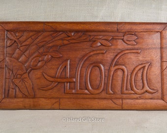 Hand carved Monkey Pod wood Aloha Sign with Bamboo Motif, Wall hanging