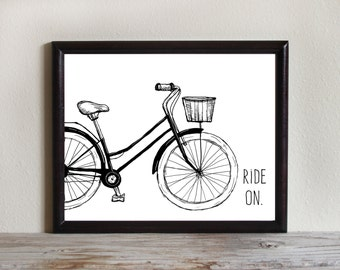 Bicycle Print, Instant Download Printable Art, Bike Drawing, Motivational Art Print, Travel, Bicycle Art, Digital Files