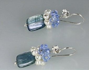 Kyanite Pearl Cluster Dangle Blossom Earring, Rectangle Kyanite Pearl Cluster Earrings