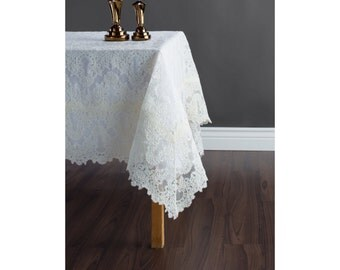 Ivory lace tablelcoth - Custom size wedding tablecloth - Free shipping in US!