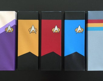 Star Trek TNG Canvas Paintings (5; Red, Yellow, Blue, Counsellor Troi, Wesley Crusher)