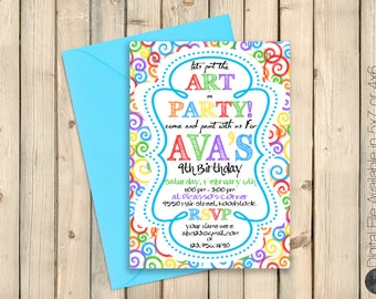 Art Party Invitation, Paint Party Invitation, Art Birthday Party, Paint Birthday Party, Drawing Party, Painting Party Decorations Digital