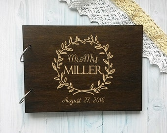 Personalised Wedding Guest Book, Wood Guestbook, Names Wooden Guestbook, Custom Engraved Guest Book, Alternative Guest Book