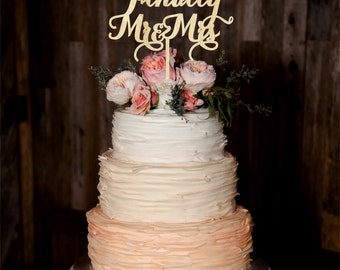 Finally Mr Mrs Wedding Cake Topper Wood Cake Topper Custom Wedding Topper Gold cake topper Silver cake topper