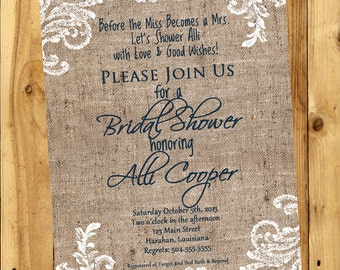 Bridal Shower Invitation, Shabby Chic Bridal Invitation, Burlap Lace Invitation, Shabby Chic Bridal Shower Invitation, Wedding Invitation