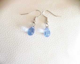 Light Blue Czech Glass Teardrop Bead Earrings, Perfect for Birthdays or any occassion