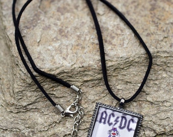 AC/DC Angus Young Cartoon drawing custom square glass pendant necklace