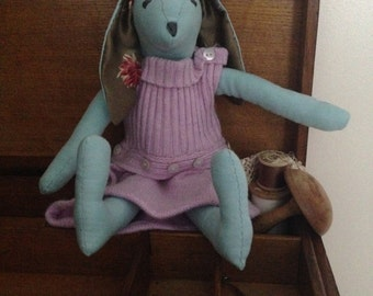 Little Miss Una Bunny, Blue and Pink, Hand Made, Fabric, Vintage, Rabbit, Tilda Style, Dressed, Easter, Nursery Decoration,