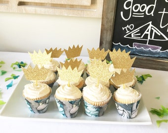 Crown Cupcake Toppers, Wild One Cupcake Topper, Wild One Party, King Crown Cupcake, Wild One Birthday, Where the Wild Things Are Crown,