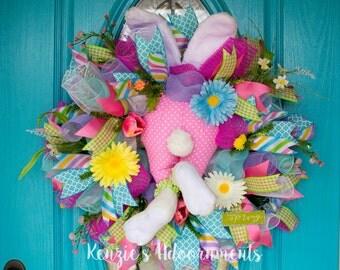Deco Mesh Spring Wreath, Bunny Wreath, Bunny Butt Wreath, Happy Spring Wreath, Deco Mesh Easter Wreath, Spring Floral Wreath, Spring Wreath