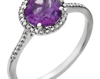 February Amethyst Ring, February Birthstone, Birthstone Ring, Amethyst Purple Birthstone, Sterling Silver