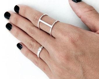 Bar Ring, Geometric Ring, Statement Ring, Simple Ring, Rose Gold Ring, Double Band Ring, Double Bar Ring, Long Bar Ring, Christmas Gift
