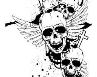 "Custom Laser Engraved ""Skull Splatter"" Pool Cue"