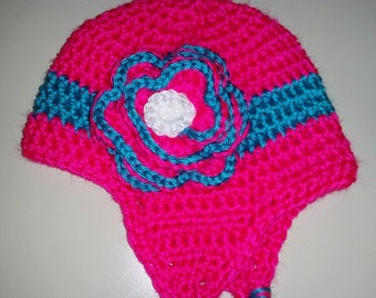 Infant Crocheted Hat with Earflaps in Pink and Aqua, fits 6-12 months, Ready to Ship As Pictured