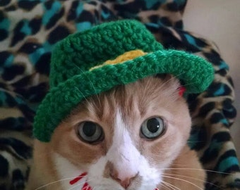 Happy St Patrick's Day pet hat, hand crocheted