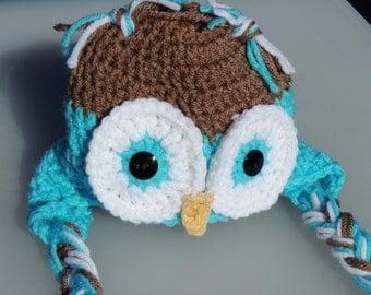 Crochet Owl Hat, Crochet Owl Earflap Hat, Photo Prop
