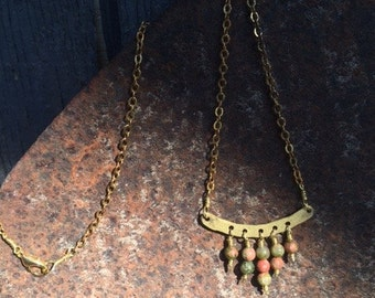 Brass and Unakite Necklace