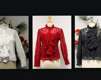 New Lace Blouse, Stylish Designer Blouse,  Buttoned down Blouse, church Blouse, party wear, Church wear.