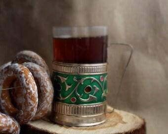 Russian tea glass holder Russian Podstakannik Tea glass holder Soviet glass holder  Kitchen decor  Russian tea cup  Soviet decor
