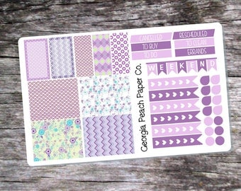 Purple Pleasures Flowers Themed Planner Stickers - Made to fit Vertical Layout