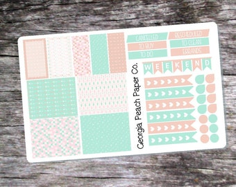 Mint and Blush Arrows Themed Planner Stickers- Made to fit Vertical Layout